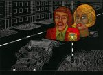 Příjezd slavných zpěváků / Arrival of Famous Singers, 1978, linoryt / linocut / 50x36,5cm