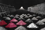 4 červené hromady / 4 Red Piles, 1980, linoryt / linocut / 74,5x50cm